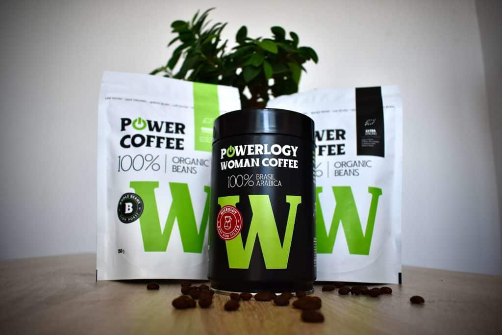 Powerlogy Power Coffee strong, Powerlogy Power Coffe organic espresso, Powerlogy Power Coffe pre ženy, Powerlogy všetky kávy